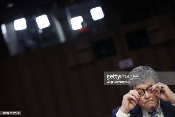 S Attorney General nominee William Barr testifies at his confirmation hearing before the Senate Judiciary Committee January 15 2019 in Washington DC...