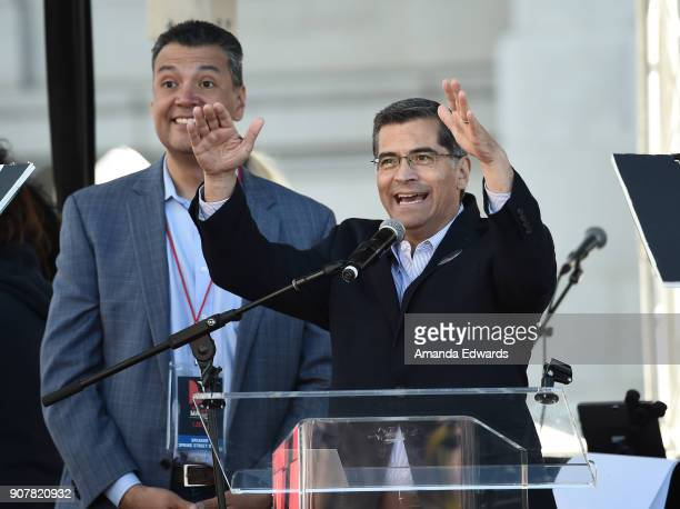 Attorney General of California Xavier Becerra speaks onstage at 2018 Women's March Los Angeles at Pershing Square on January 20 2018 in Los Angeles...