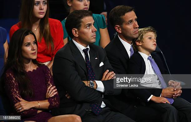 Attorney General of Delaware Beau Biden Hunter Biden and Ashley Biden watch their father Democratic vice presidential candidate US Vice President Joe...