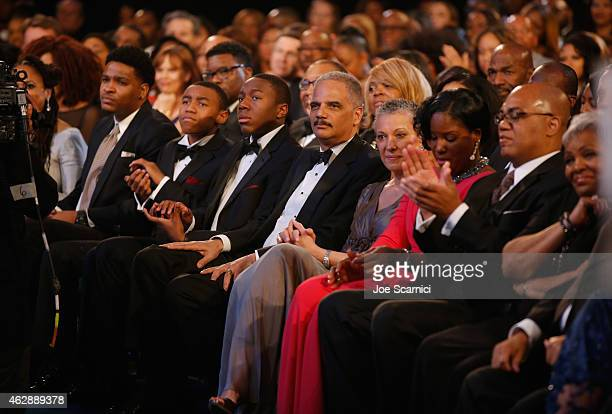 Attorney General of the United States Eric H Holder Jr attends the 46th NAACP Image Awards presented by TV One at Pasadena Civic Auditorium on...