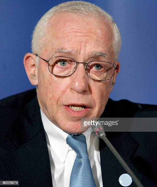 Attorney General of United States Michael Mukasey attends the EUUS Justice and Home Affairs Ministerial Trioka Meeting in Brdo pri Kranju Slovenia on...