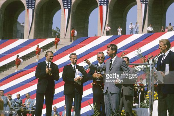 Attorney General Robert F Kennedy appears at the USA v USSR Dual Track Field Meet at Los Angeles Memorial Coliseum in August 1964 in Los Angeles...