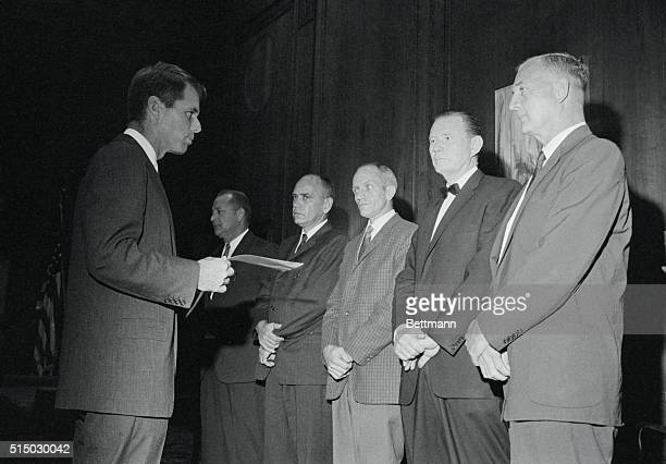 Attorney General Robert Kennedy shown as he praises five US Marshalls for their bravery during the Mississippi Integration Crisis in a ceremony in...