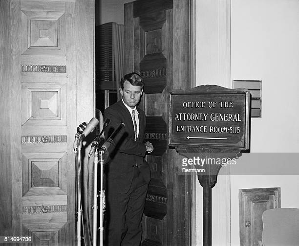 Attorney General Robert Kennedy steps out of his office to address reporters He came to talk to reporters about a current situation in Mississippi...