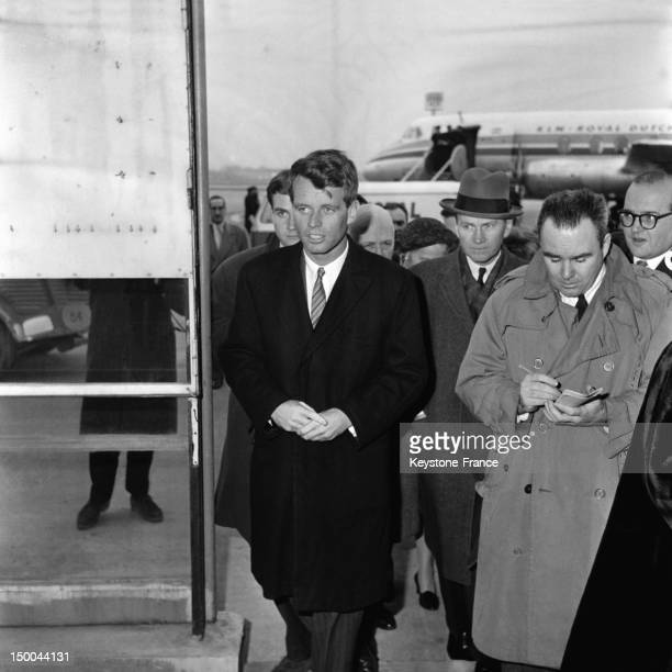 Attorney General Robert Kennedy with his wife Ethel arriving at Paris Le Bourget Airport on February 26 1962 in Paris France