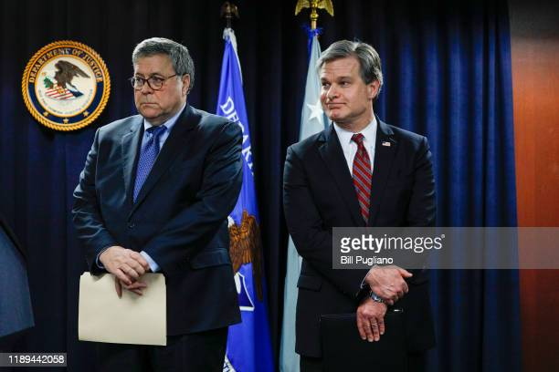 S Attorney General William Barr and FBI Director Christopher Ray stand together at an announcement of a Crime Reduction Initiative designed to reduce...