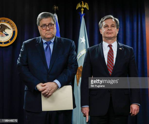 S Attorney General William Barr and FBI Director Christopher Wray stand together at an announcement of a Crime Reduction Initiative designed to...