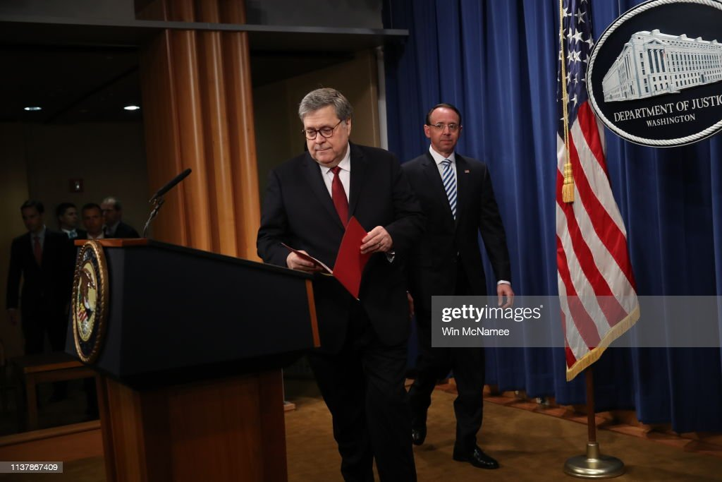 Attorney General William Barr Holds Press Conference To Discuss Release Of Mueller Report : News Photo