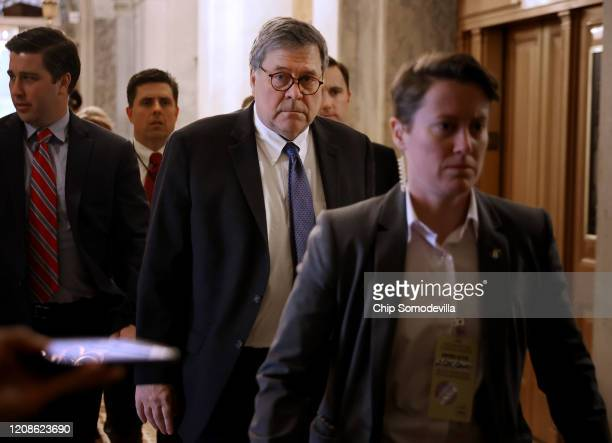 Attorney General William Barr arrives at the U.S. Capitol before meeting with members of the Senate Republican caucus February 25, 2020 in...