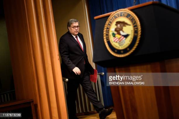 Attorney General William Barr arrives for a press conference about the release of the Mueller Report at the Department of Justice April 18 in...