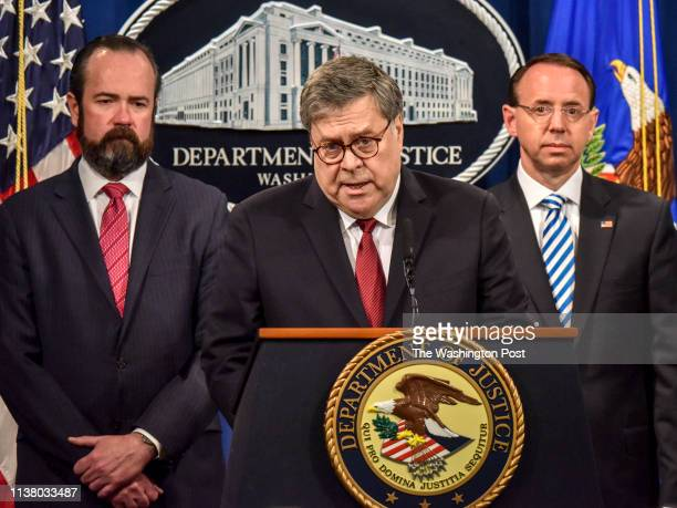 Attorney General William Barr center answers a question during a press conference hours before releasing a lightly redacted version of the Mueller...