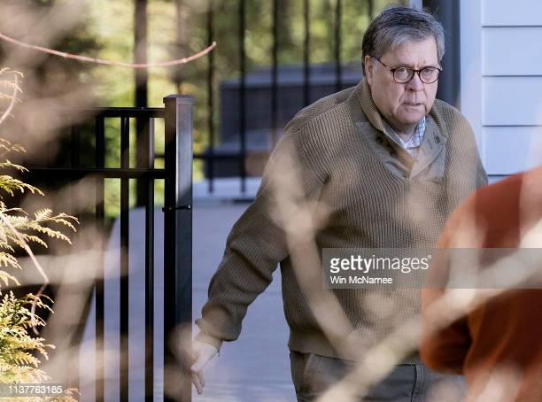 S Attorney General William Barr departs his home March 23 2019 in McLean Virginia Special Counsel Robert Muellerdelivered the report from his...