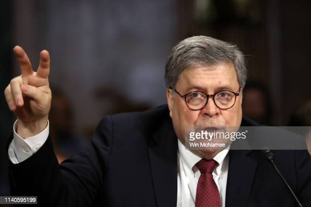 S Attorney General William Barr gestures as he testifies before the Senate Judiciary Committee May 1 2019 in Washington DC Barr testified on the...