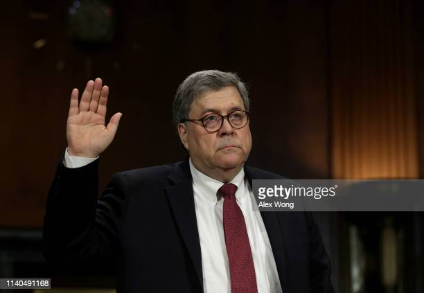 S Attorney General William Barr is sworn in he prepares to testify before the Senate Judiciary Committee May 1 2019 in Washington DC Barr testified...