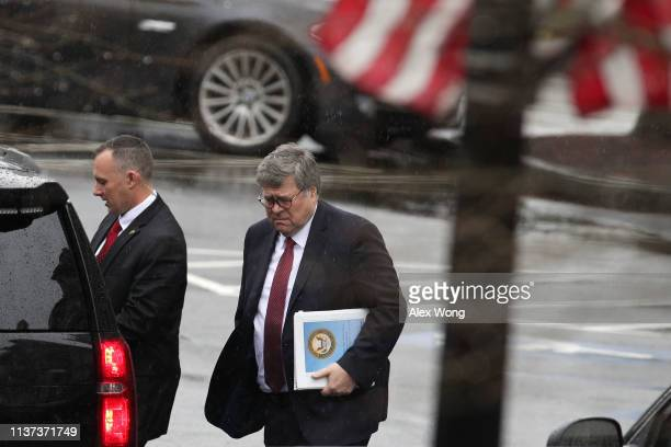 S Attorney General William Barr leaves after a meeting at the West Wing of the White House March 21 2019 in Washington DC Key lawenforcement...