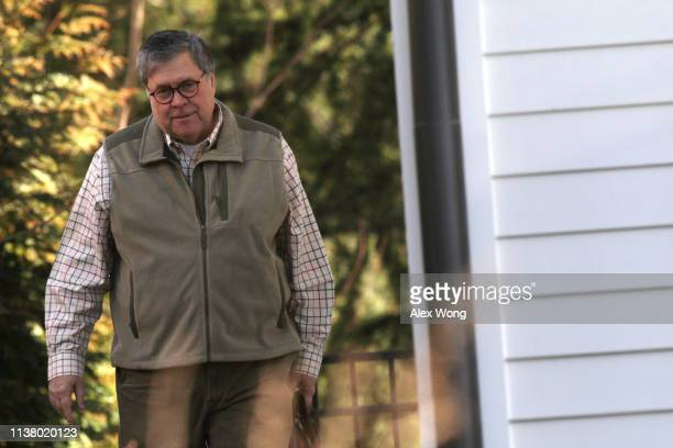 S Attorney General William Barr leaves his house March 24 2019 in McLean Virginia Barr has submitted his summary of the conclusions from the report...