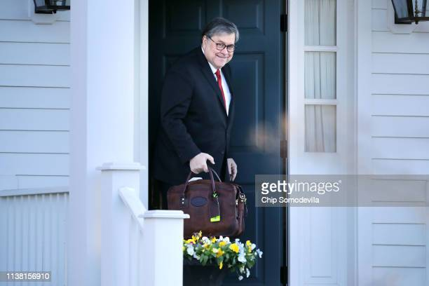 S Attorney General William Barr leaves to his home March 25 2019 in McLean Virginia Stopping short of exonerating President Donald Trump of...