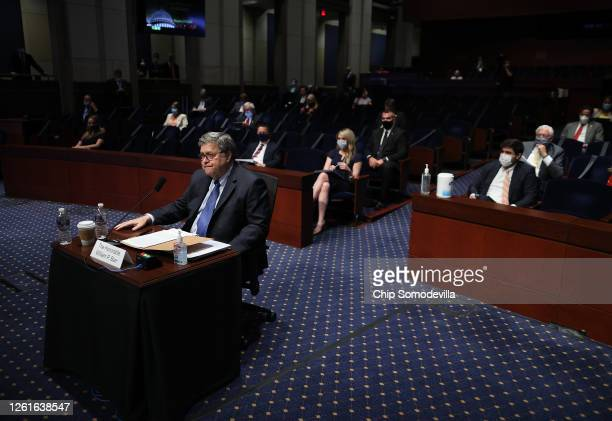 Attorney General William Barr listens to testimony during a the House Judiciary Committee hearing July 28, 2020 in Washington, DC. In his first...