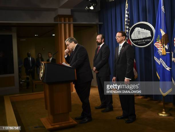 US Attorney General William Barr speaks about the release of the Mueller Report at the Department of Justice April 18 in Washington DC The final...