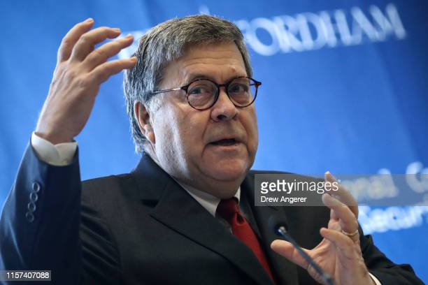 S Attorney General William Barr speaks at the International Conference on Cyber Security at Fordham University School of Law on July 23 2019 in New...