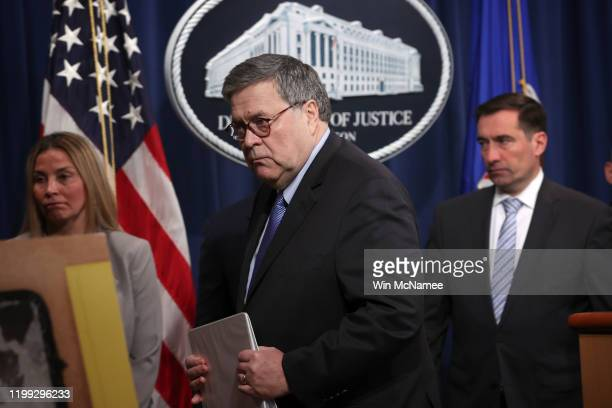 Attorney General William Barr speaks departs a press conference on the shooting at the Pensacola naval base January 13, 2020 in Washington, DC. Barr...