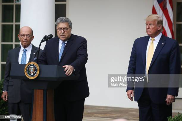 S Attorney General William Barr speaks during a press conference on the census with President Donald Trump and Secretary of Commerce Wilbur Ross in...