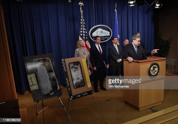 Attorney General William Barr speaks during a press conference on the shooting at the Pensacola naval base January 13, 2020 in Washington, DC. Barr...