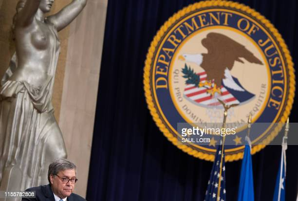US Attorney General William Barr speaks during the Summit on Combating AntiSemitism at the Department of Justice in Washington DC July 15 2019