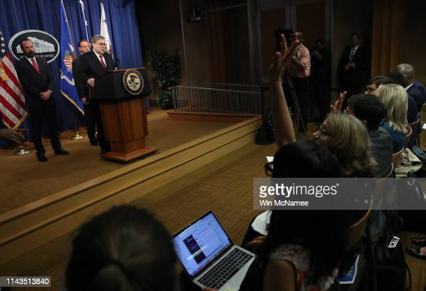 S Attorney General William Barr takes questions about the release of the redacted version of the Mueller Report at the Department of Justice April 18...