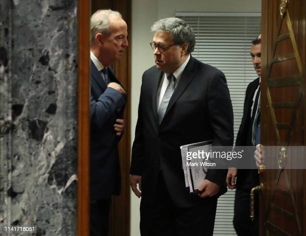 S Attorney General William Barr talks with Chairman Jerry Moran before the start of a Senate Appropriations Committee in the Dirksen Senate Office...