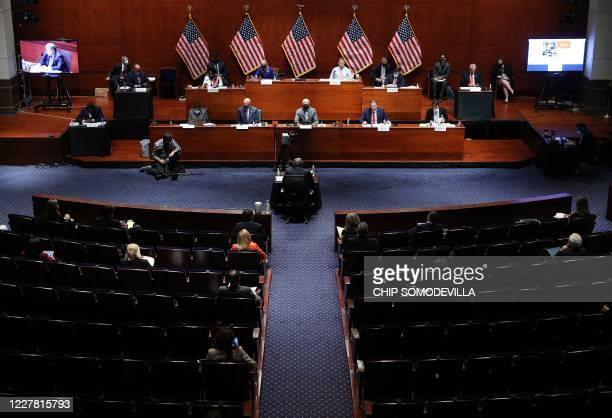 Attorney General William Barr testifies before the House Judiciary Committee hearing in the Congressional Auditorium at the US Capitol Visitors...