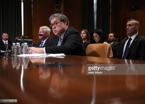 S Attorney General William Barr testifies before the Senate Appropriations Committee in the Dirksen Senate Office Building on April 10 2019 in...