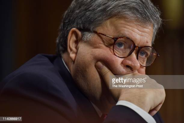 Attorney General William Barr testifies before the Senate Judiciary Committee at the Dirksen Building on Wednesday May 1 in Washington DC