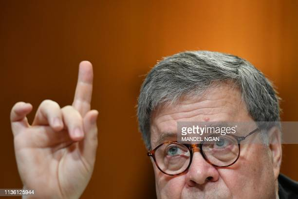US Attorney General William Barr testifies during a US House Commerce Justice Science and Related Agencies Subcommittee hearing on the Department of...