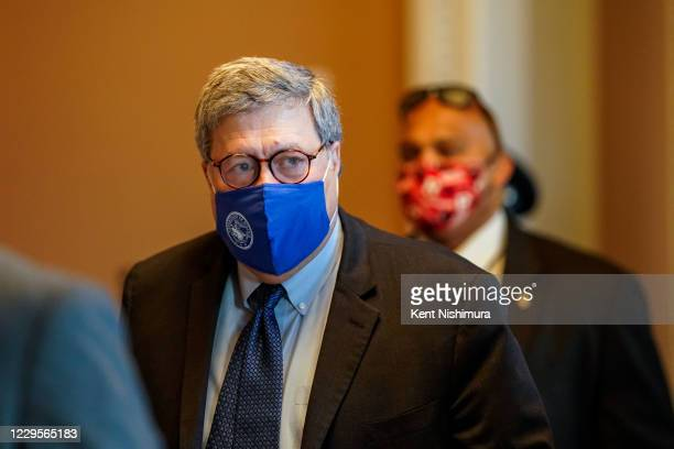 Attorney General William Barr walks out from the office of Senate Majority Leader Mitch McConnell at the US Capitol Building on Monday, Nov. 9, 2020...