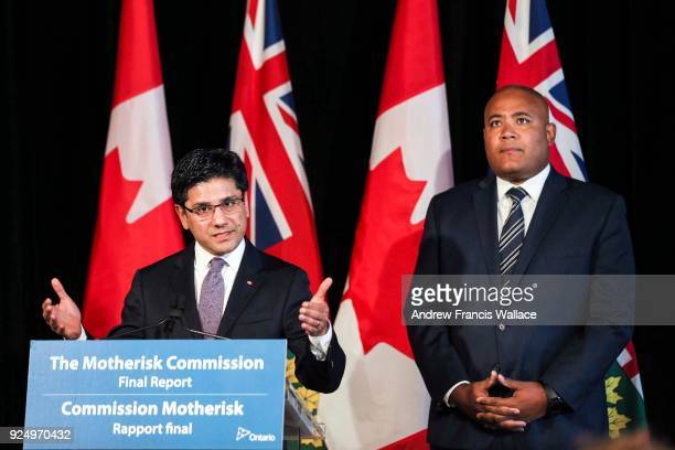Attorney General Yasir Naqvi speak to media, while Ministry of Children and Youth Services, Michael Coteau listens at right, during a news conference...