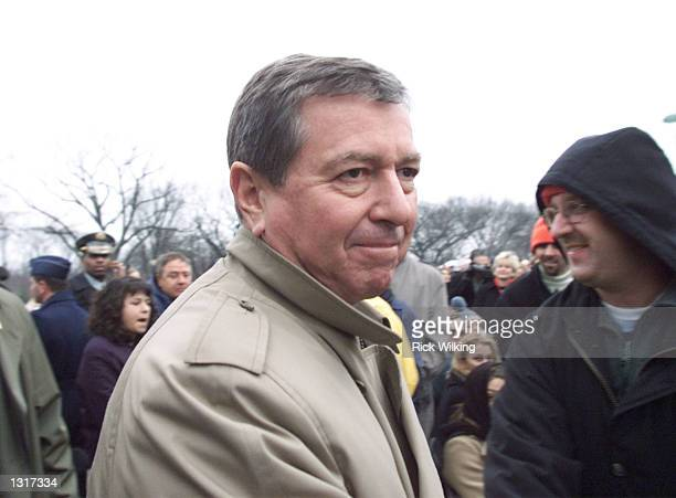 Attorney Generaldesignate John Ashcroft walks through the crowd as he arrives at the presidential inauguration opening ceremony January 18 2001 at...