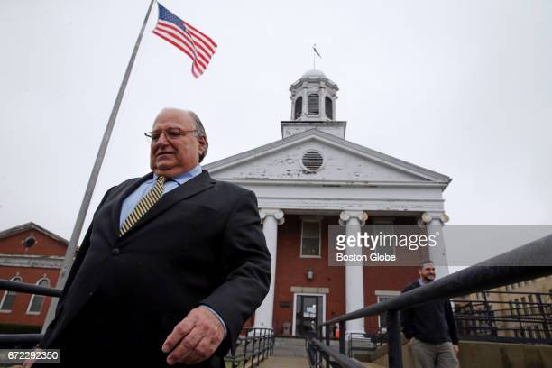 Attorney George Leontire representing Shayanna Jenkins Hernandez departs the Bristol County Superior Court in New Bedford MA on Apr 21 2017 Lawyers...