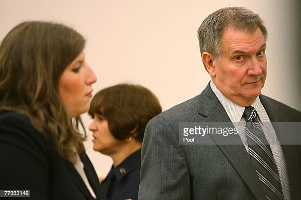 Attorney Ginnine Fried and her client L Lindley DeVecchio look on during his murder trial in state Supreme Court October 15 2007 in the Brooklyn...