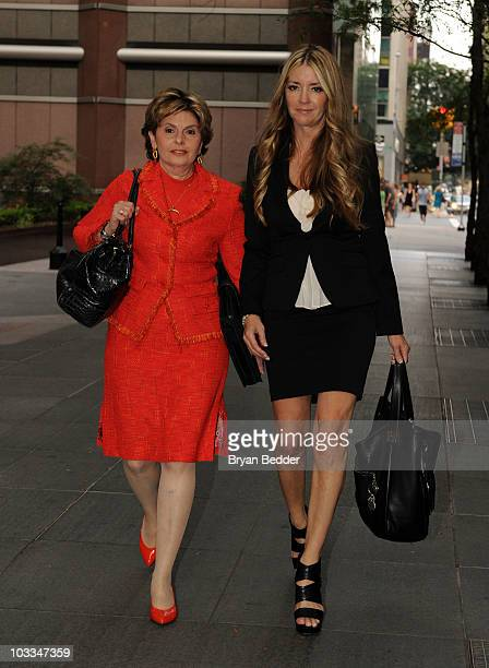 Attorney Gloria Allred and actress Jodie Fisher are seen outside the New York Friars Club on August 11 2010 in New York City