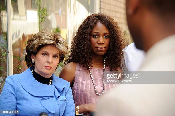Attorney Gloria Allred and Alexis Houston address the press to deny the rumors of a romantic relationship between Houston and Matt Lauer outside...
