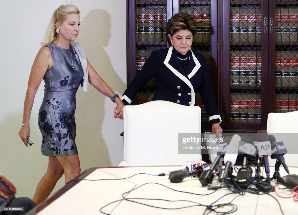 Attorney Gloria Allred (R) and client speak regarding Roman Polanski during press conference on August 15, 2017 in Los Angeles, California.