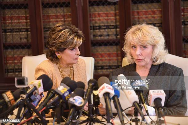 Attorney Gloria Allred and her client Heather Kerr speak during a press conference regarding the sexual assault allegations that have been brought...