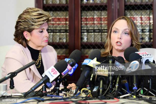 Attorney Gloria Allred and her client Louisette Geiss speak during a press conference about her client's allegations of sexual harassment by Harvey...