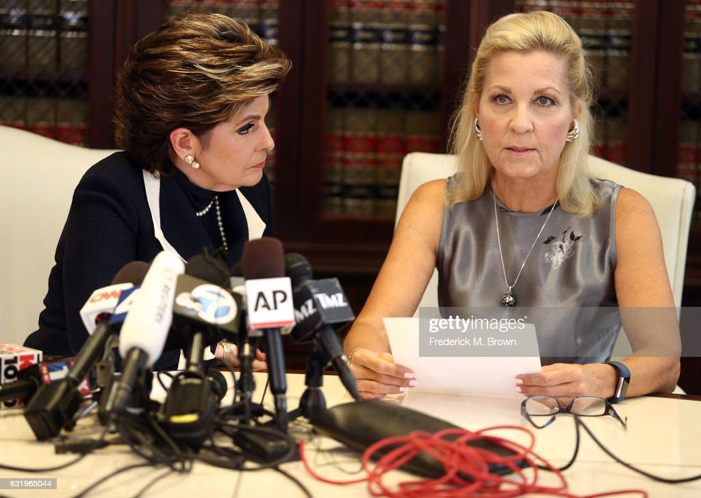 Attorney Gloria Allred and her client Robin speak during press conference on August 15, 2017 in Los Angeles, California.