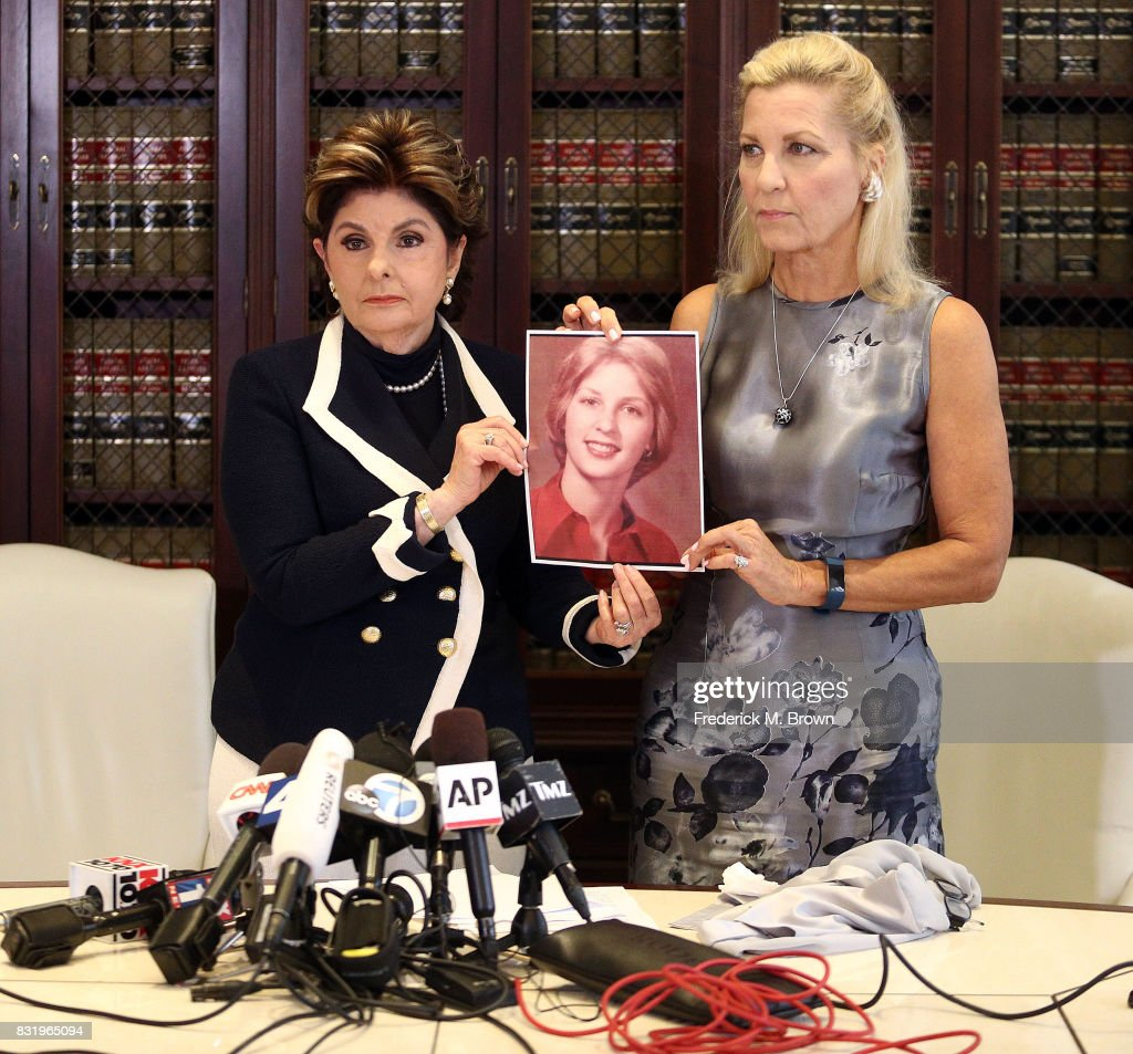Attorney Gloria Allred and her client Robin speak regarding Roman Polanski during press conference on August 15, 2017 in Los Angeles, California.