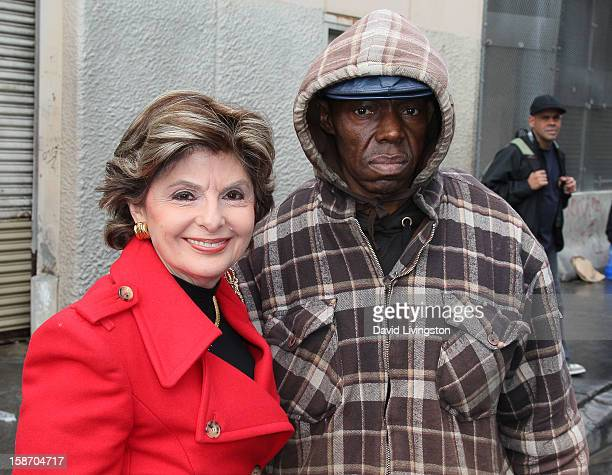 """Attorney Gloria Allred and homeless man """"Eddie"""" attend a press conference for the homeless on Skid Row to address the controversy surrounding Justin..."""
