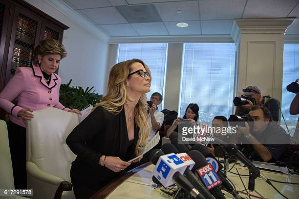 Attorney Gloria Allred and jessica drake arrive to a press conference to accuse Republican presidential candidate Donald Trump of previous...