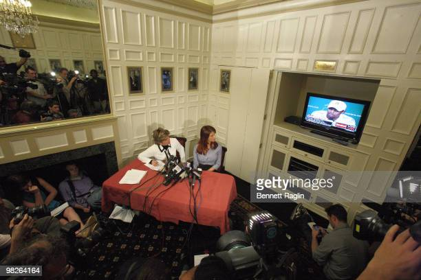 Attorney Gloria Allred and Joslyn Jame reacts to Tiger Woods' news conference at the New York Friars Club on April 5 2010 in New York City