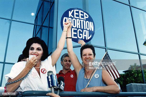 Attorney Gloria Allred and Norma McCorvey 'Jane Roe' plaintiff from Landmark court case Roe vs Wade during Pro Choice Rally July 4 1989 in Burbank...